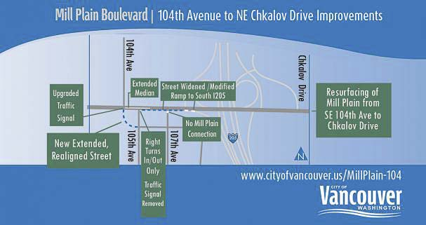 The city of Vancouver is currently underway on a project to improve and repave a stretch of Mill Plain Blvd from 104th Ave to Chkalov Blvd. Image courtesy City of Vancouver