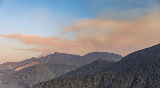 Smoke from the Big Hollow wildfire east of Yale Lake, as seen from Chelatchie in Clark County. Photo by Mike Schultz
