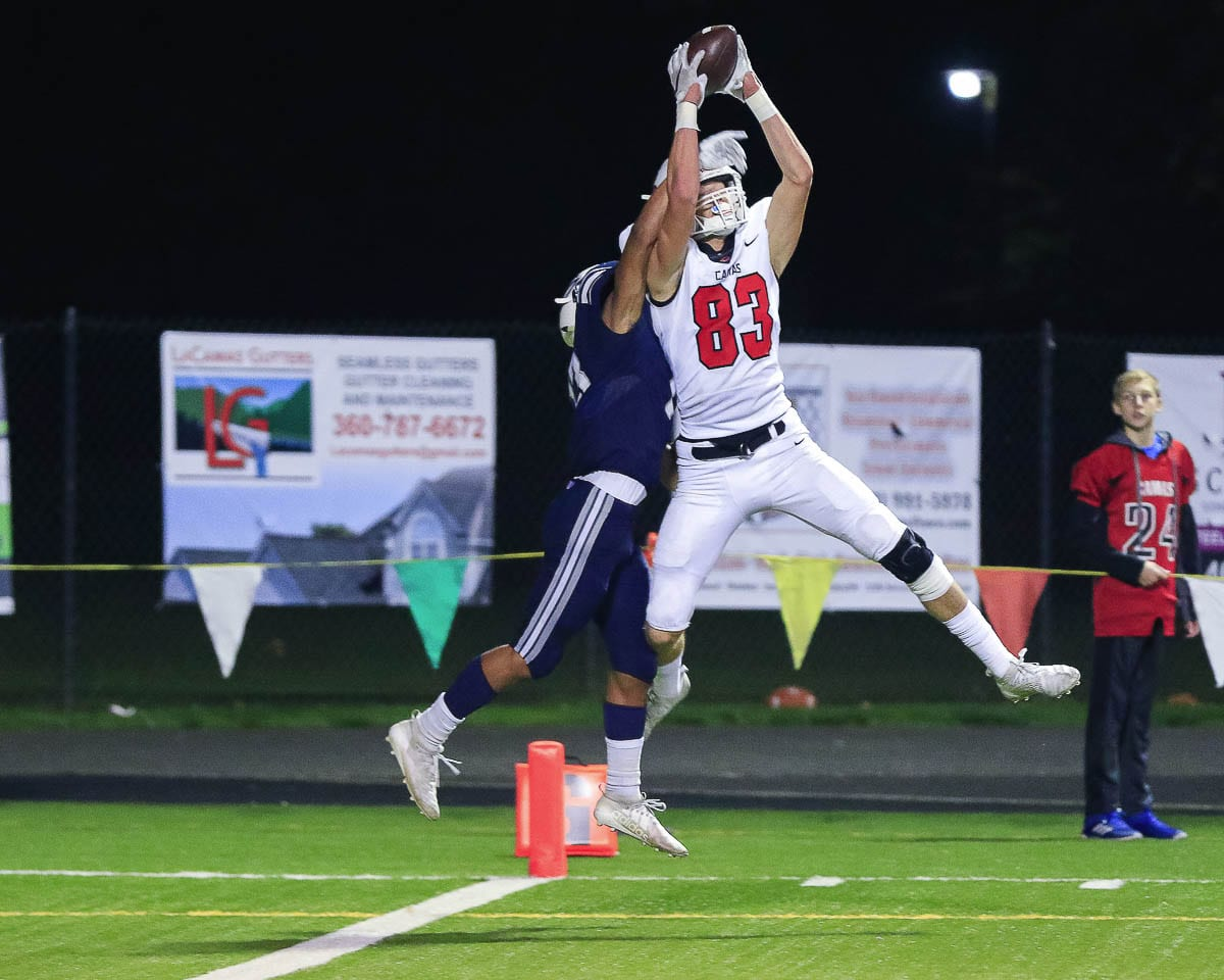 Jackson Clemmer, shown here last year catching a touchdown pass for Camas, is now at Southern Oregon University. Clemmer said he is not sure he would be a college football player if he did not have a senior season. Photo by Mike Schultz