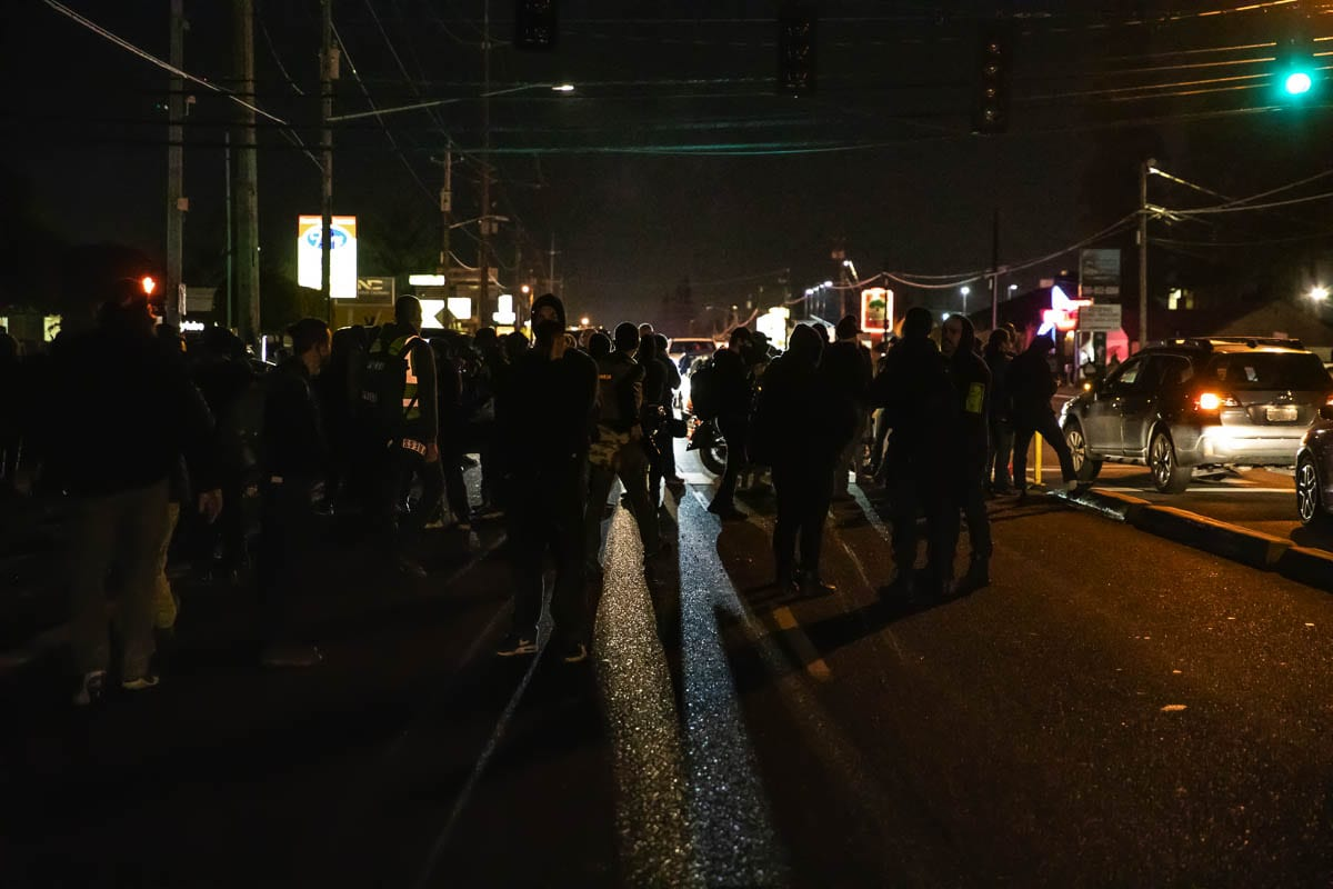 About 3,000 protesters and counterprotesters gathered in Hazel Dell Friday night in the aftermath of the death of 21-year-old Camas resident Kevin Peterson Jr. Photo by Jacob Granneman