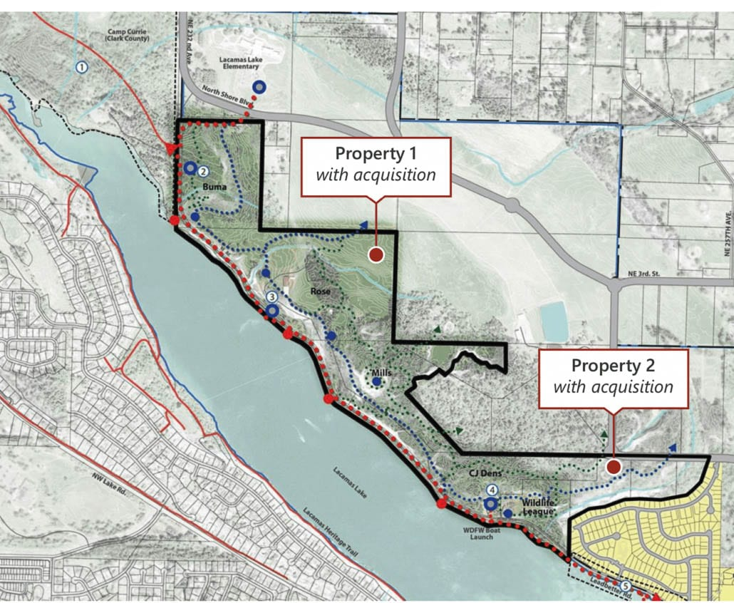 Earlier in the year, Camas purchased land along the north shore of Lacamas Lake to add to their Legacy Lands. Map courtesy of city of Camas.