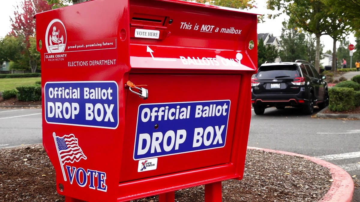 A ballot drop box in Hazel Dell, one of 22 total now open 24 hours a day around the county. Photo by Mike Schultz