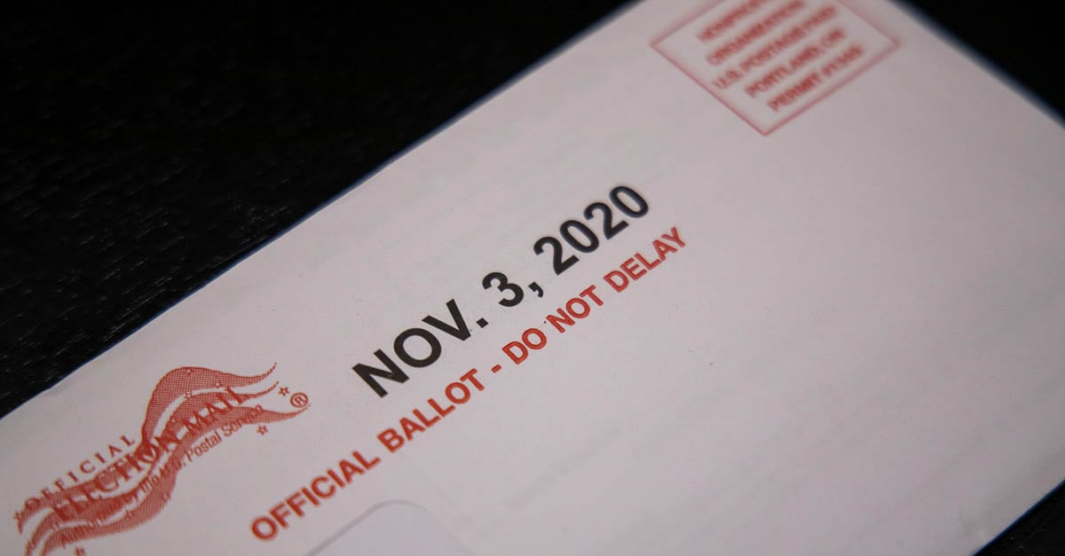An official ballot envelope for the 2020 general election. Photo by Chris Brown