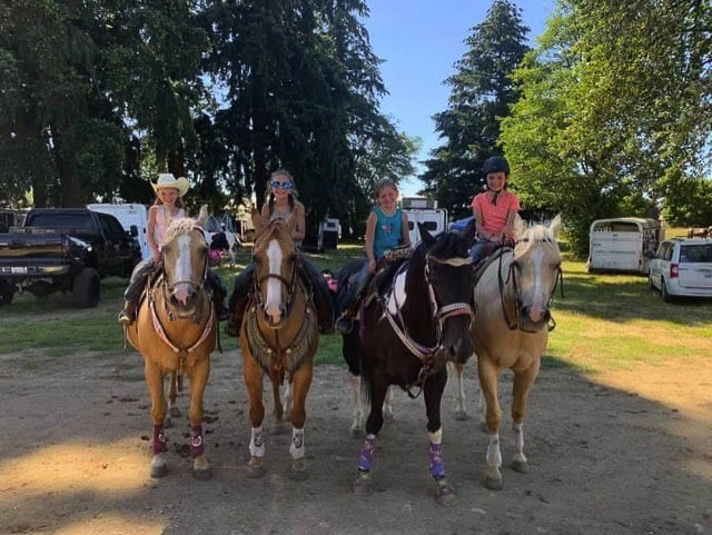 The Clark County Saddle Club has always been about supporting youth programs, such as these Pee Wee riders: Ruby Minsker, Stella Minsker, Ali Hinderliter, and Reidyn Hardison. Photo courtesy CCSC
