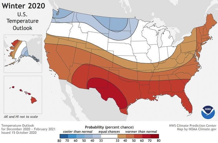 Cooler and wetter weather is expected throughout much of the northern US, according to the NOAA Winter weather outlook. Image courtesy National Oceanic and Atmospheric Administration