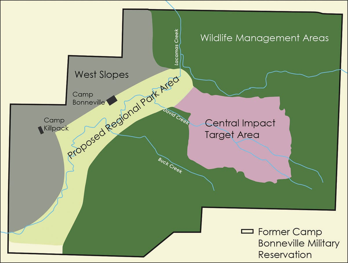 A map showing the planned area for a regional park at Camp Bonneville, as well as the cleanup area. Image courtesy US Army