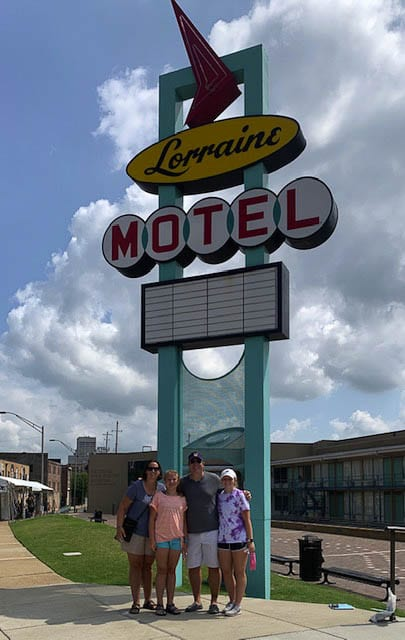 The road trip was not just for fun. Jason and Jill, both educators, wanted the trip to be a learning experience for their daughters. They went to the Civil Rights Museum at the Lorraine Motel in Memphis, as well as other historical sites. Photo courtesy of the Castro family