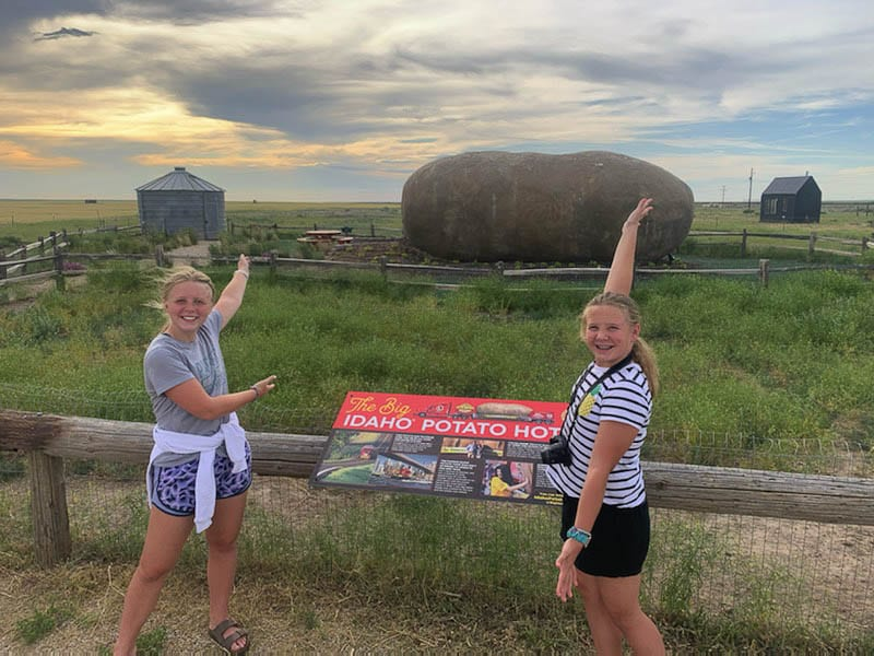 The Castro family could not stay at the Potato Hotel in Idaho. It was booked, after all. But Jason Castro insisted on getting a photo with Bailey and Maddie. Photo courtesy of the Castro family