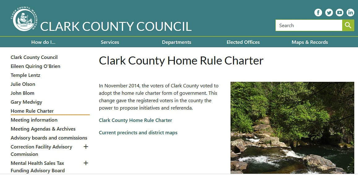 The Clark County Charter calls for a review five years after the adoption of the charter. Voters will elect 15 members of a Charter Review Commission this November. Graphic from Clark County webpage.