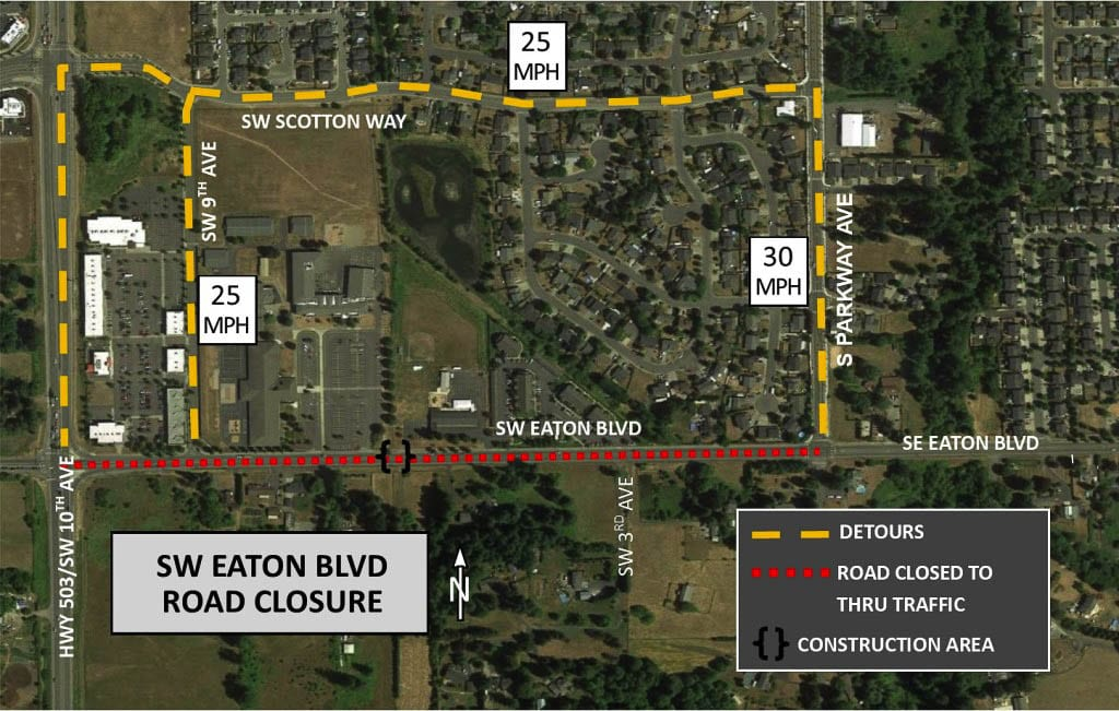 SW Eaton Boulevard, between South Parkway and SW 9th Street in Battle Ground, will be closed to thru traffic beginning Mon., Oct. 26 for a period of two weeks. Photo courtesy of city of Battle Ground