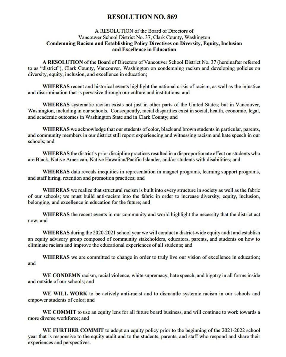 Vancouver Public Schools Board resolution condemns racism