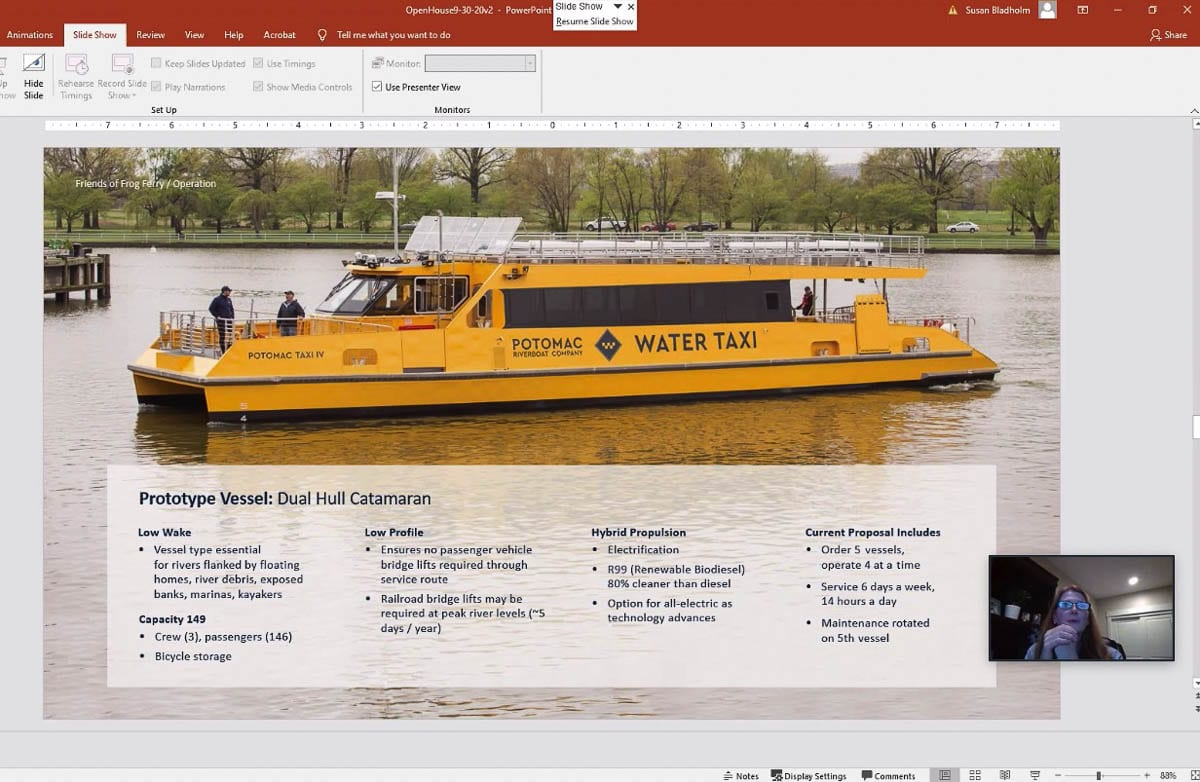 A Potomac River ferry is displayed here, with operational information; such a vessel would be similar to what Frog Ferry would use. Photo courtesy of Friends of Frog Ferry