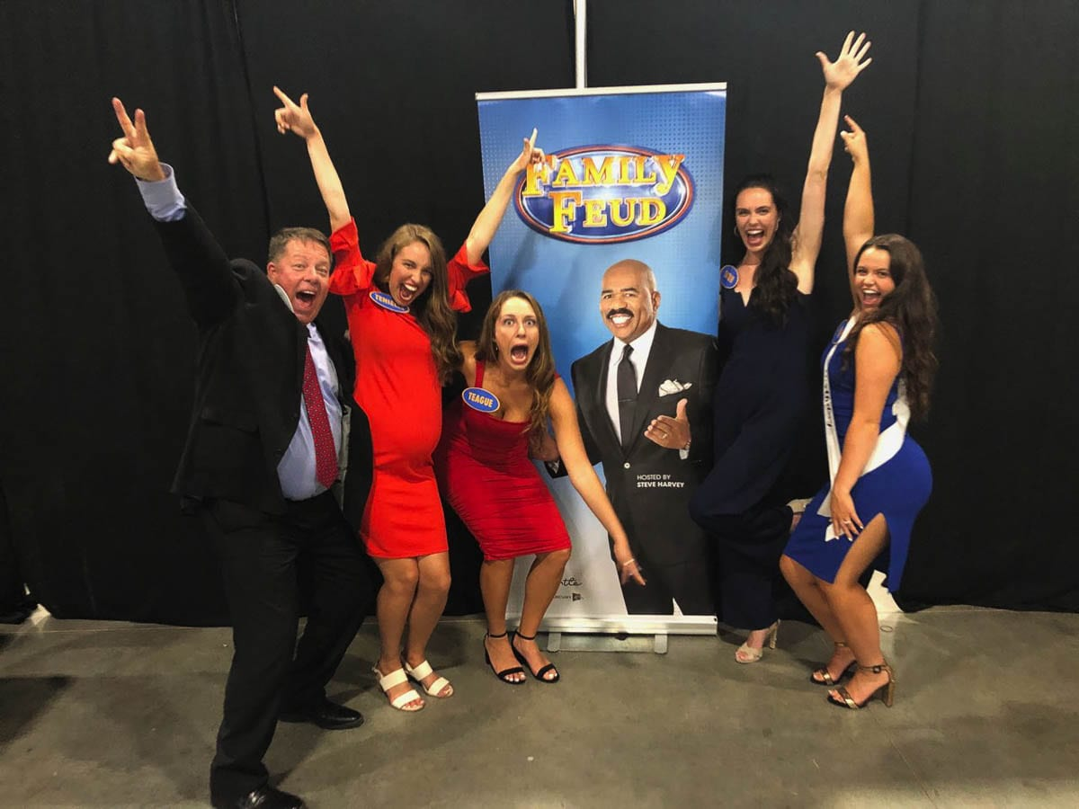 Being loud and enthusiastic are required to be on the Family Feud game show. No problem for the Schroeder family of Camas. Photo courtesy Schroeder family