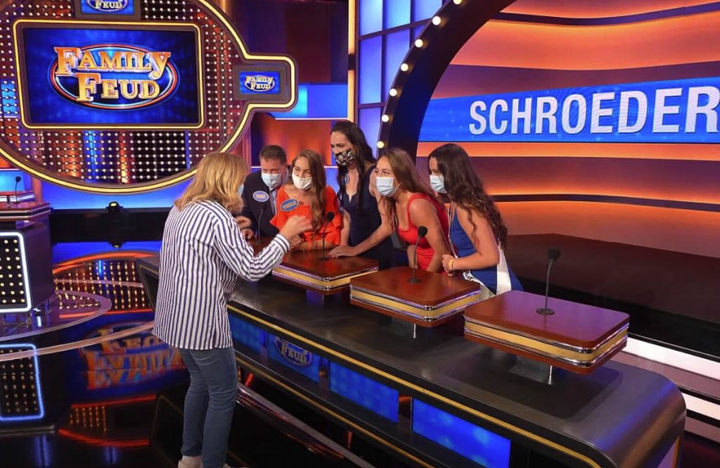 The Schroeder family of Camas said it took more than an hour to record a 20-minute game show. Producers would talk to each family during breaks. Photo courtesy Schroeder family