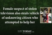 Female suspect of stolen television also steals vehicle of unknowing citizen who attempted to help her