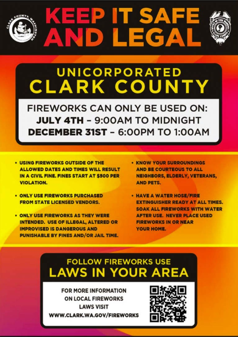 This notice was posted at fireworks stands in 2019 and this year, notifying them that usage was legal only on July 4 throughout the unincorporated areas of the county. Photo courtesy Clark County Fire Marshal's Office