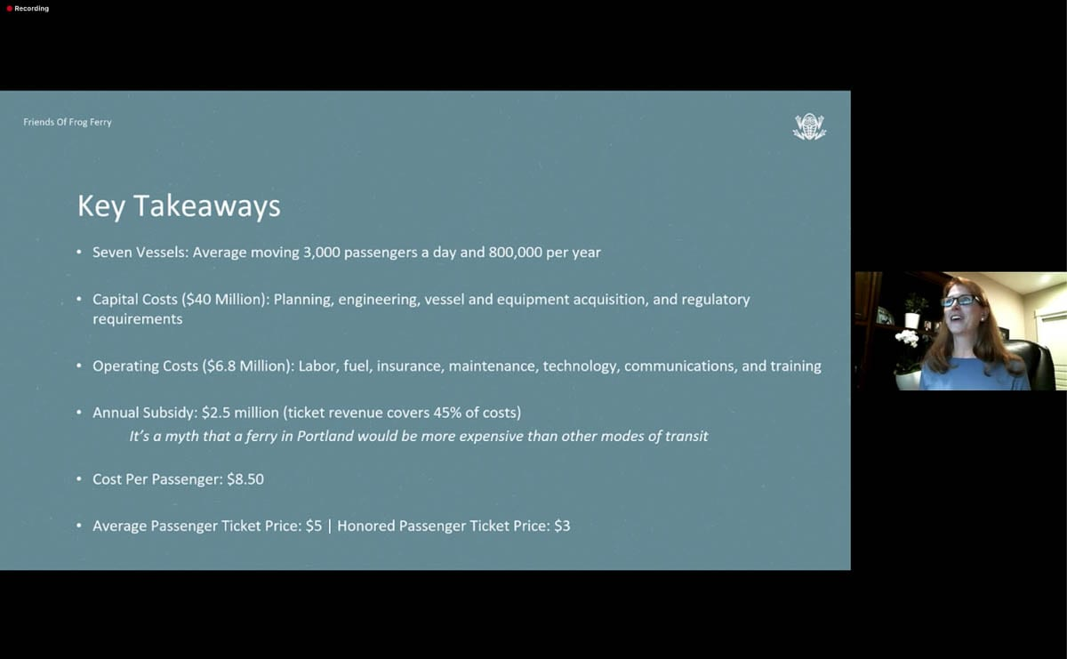 A screenshot of some key takeaways from the latest feasibility study for Frog Ferry is seen during a Zoom Call press conference with founder Susan Bladhom. Photo courtesy of FFF