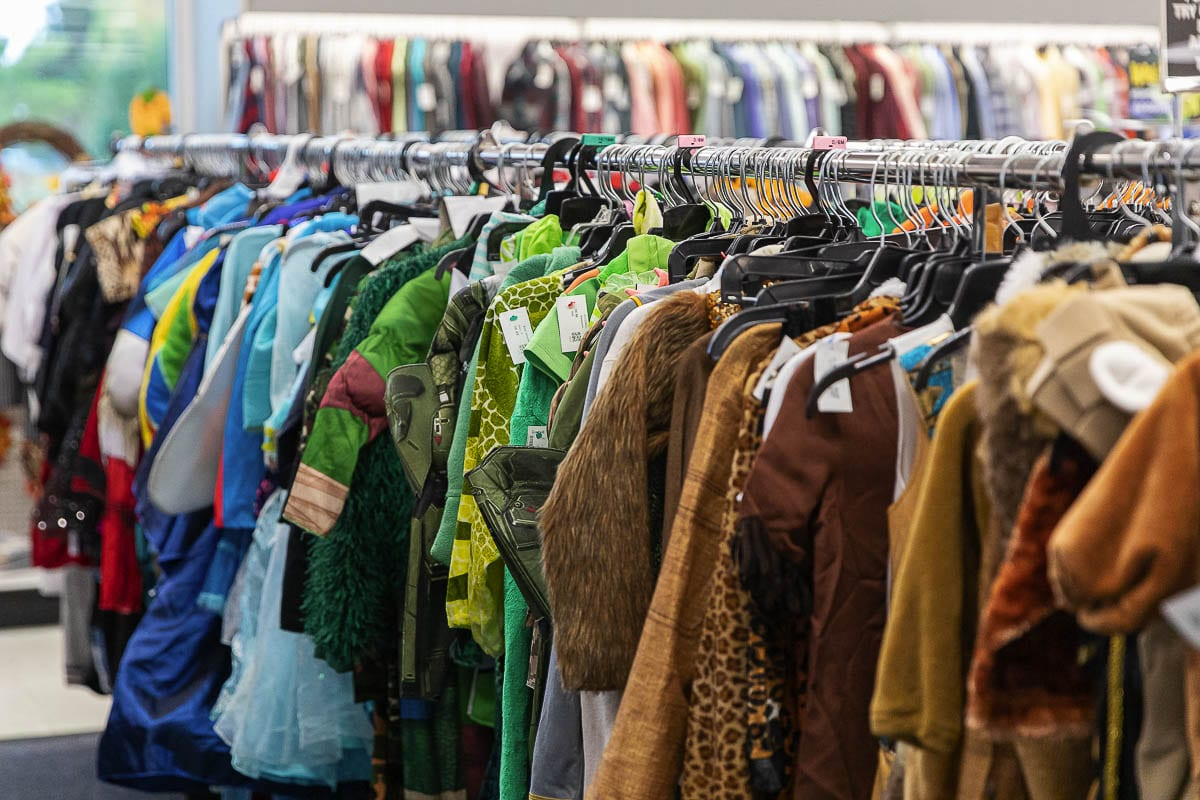 Racks of Halloween costumes and interesting clothing items await bargain hunters at Goodwill retail locations across Clark County. Photo by Mike Schultz