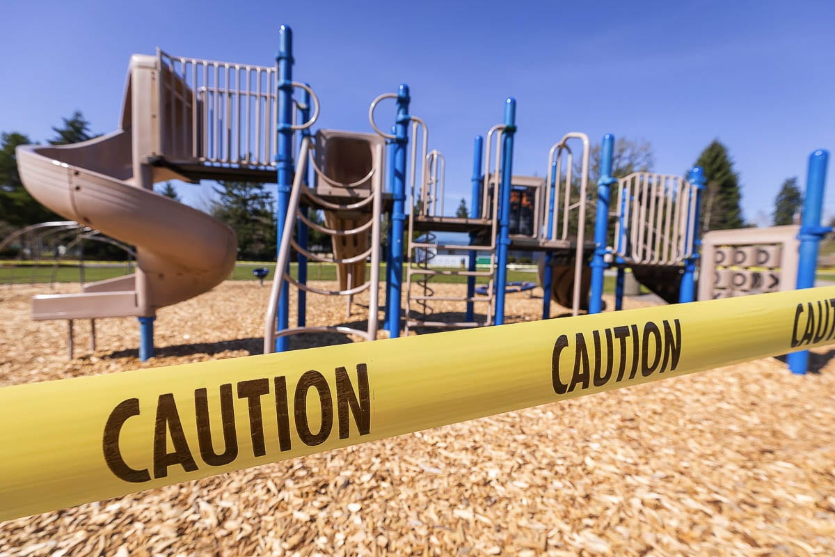 Public Works closed playgrounds in late March in accordance with the early public health guidelines aimed at preventing the spread of COVID-19. Clark County joins a growing list of jurisdictions that are reopening play structures in accordance with local and state public health guidelines. Photo by Mike Schultz