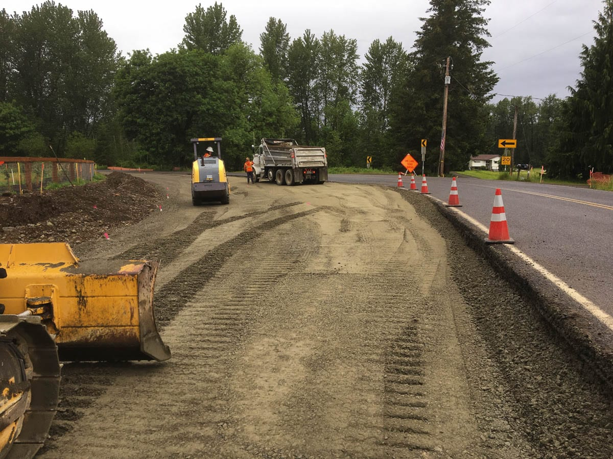Regular drivers along the Northeast Manley Road near Northeast 254th Street can expect continued lane closures as contractors with Clark County Public Works continue culvert replacement work. Photo courtesy of Clark County Public Works
