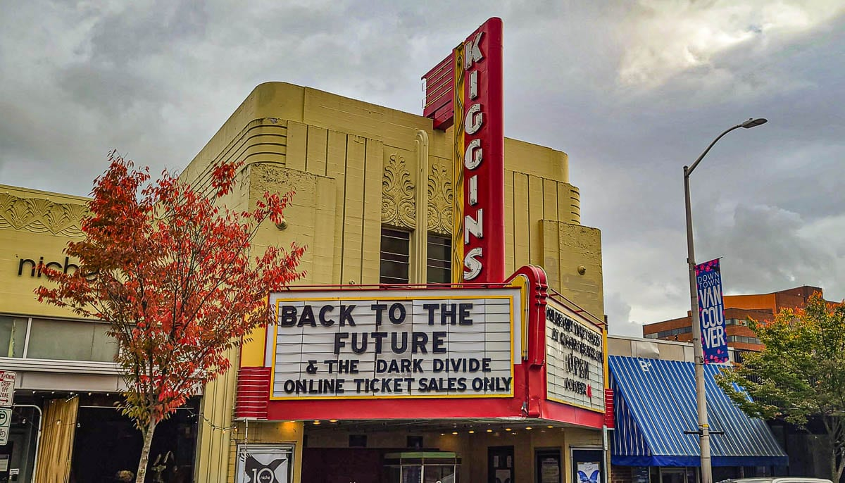 The historic Kiggins Theatre in Vancouver reopened this weekend with a showing of Back to the Future. Photo by Paul Valencia