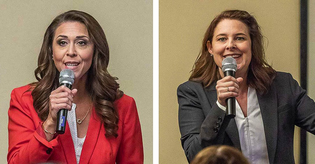 U.S. Rep. Jaime Herrera Beutler and Carolyn Long will square off for a debate Friday afternoon at 2 p.m. File photos