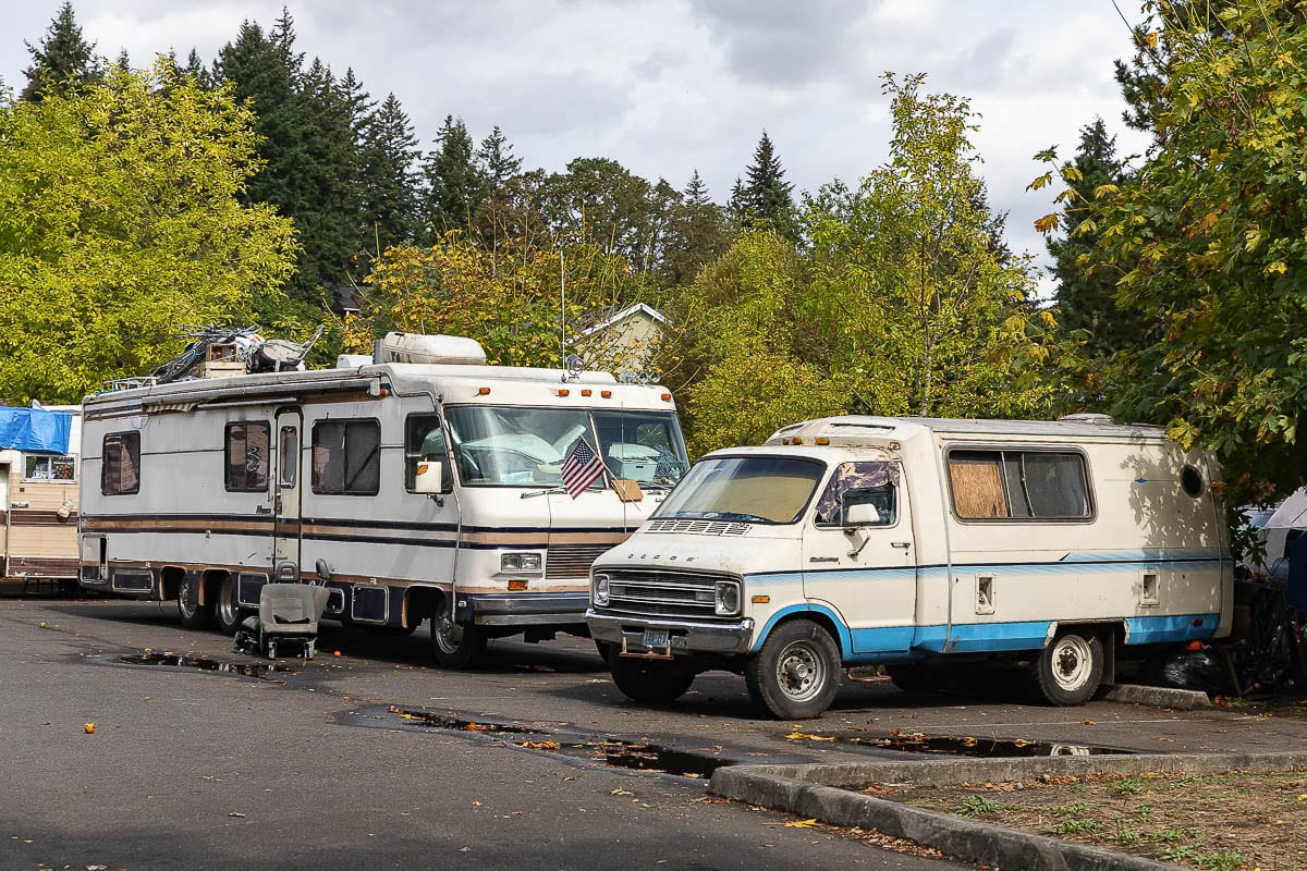 RVs and campers have taken over a parking lot near Leverich Park as homeless encampment has grown in recent weeks. Photo by Mike Schultz