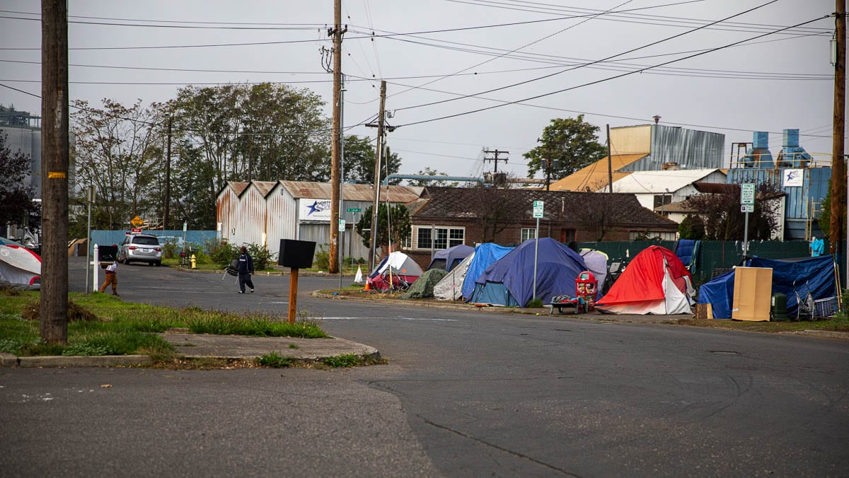 A homeless encampment across from Share House is seen here. According to neighbors, it has been far larger at times. Photo by Jacob Granneman
