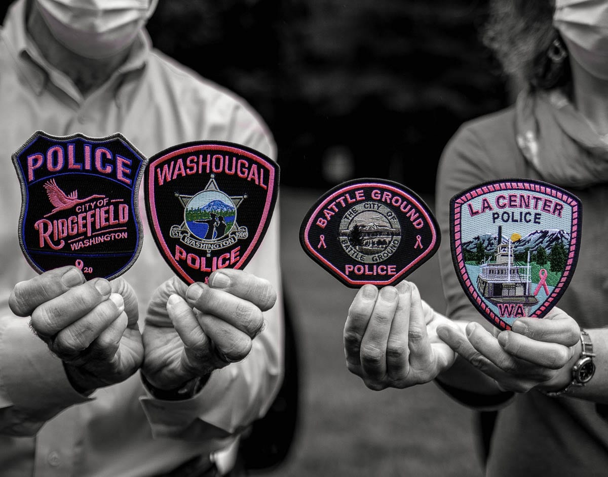 Four Clark County law enforcement agencies are supporting Breast Cancer Awareness Month with pink patches.