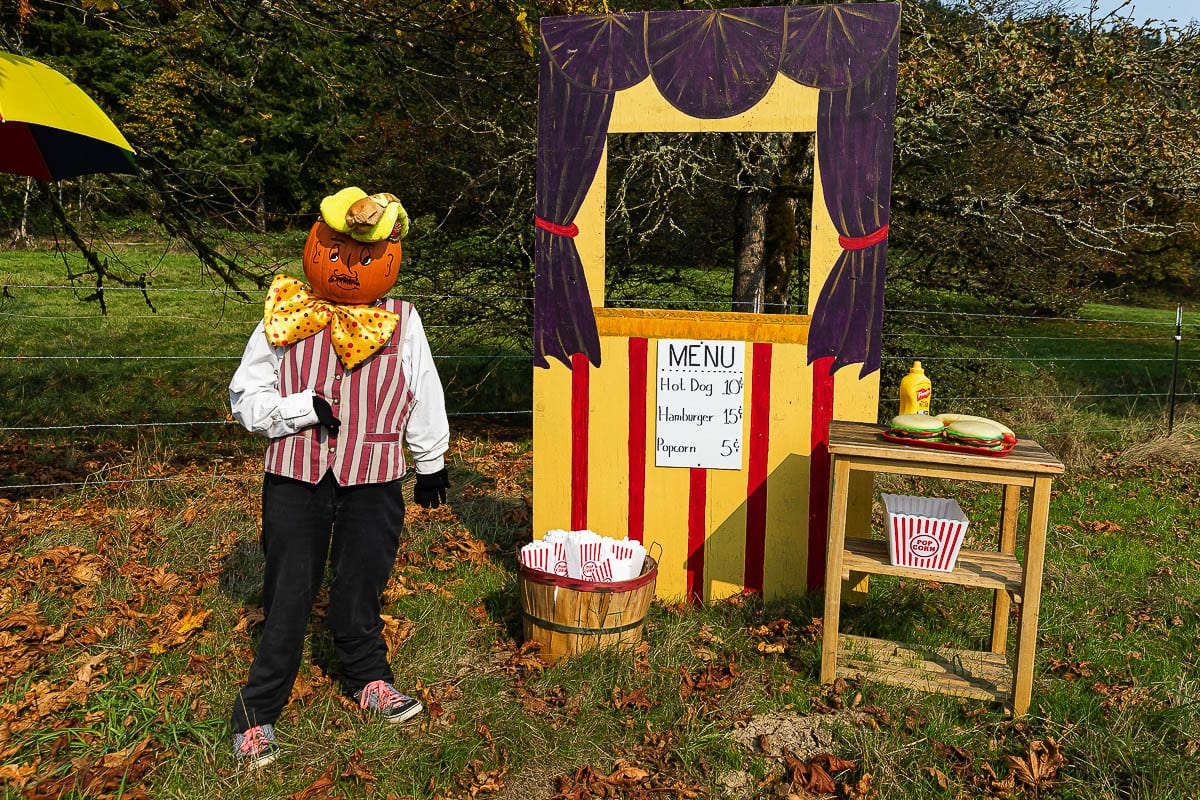 This gentleman would love to sell you some popcorn and other treats at Pomeroy Farm. Photo by Mike Schultz