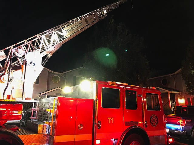 Vancouver Fire Department crews were dispatched to the structure fire at 3409 NE 62nd Ave. 3:48 a.m. Sunday. Photo courtesy of Vancouver Fire Department