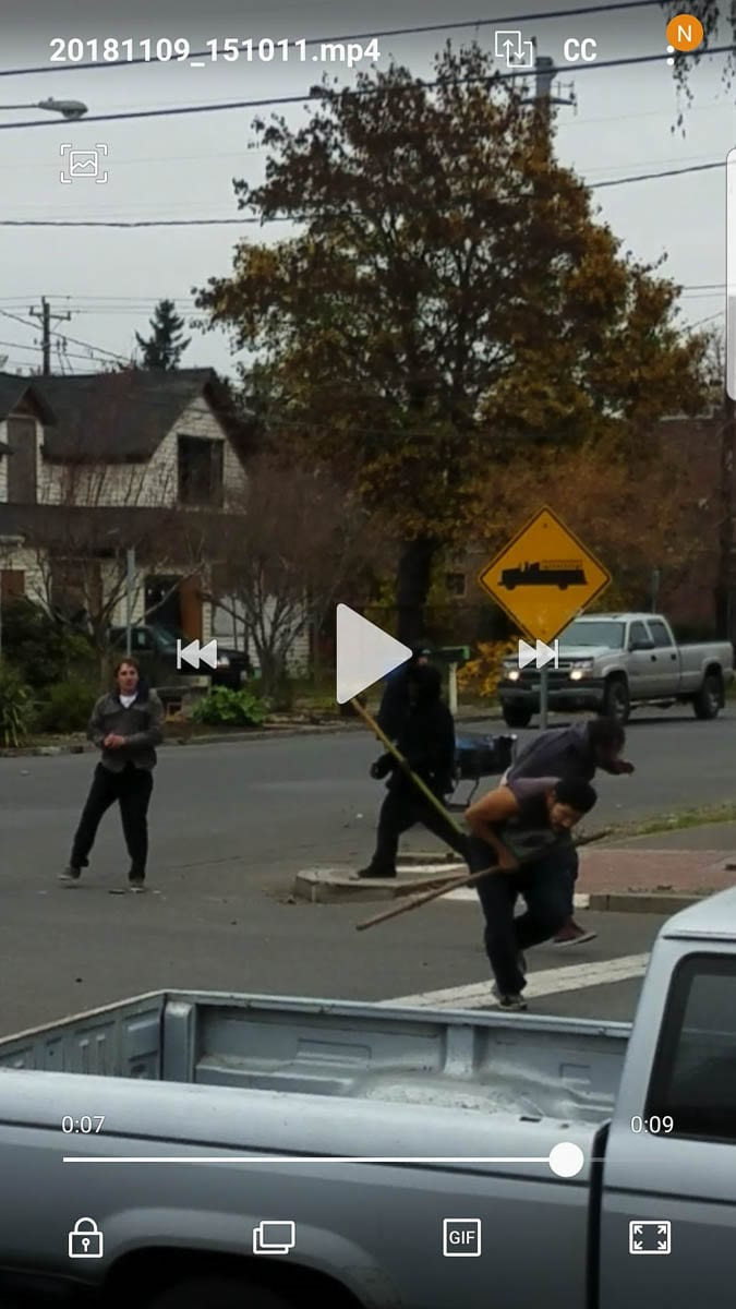 A screenshot of video Joe Newsome took during an altercation between homeless people outside his home in Vancouver. Photo courtesy of Joe Newsome
