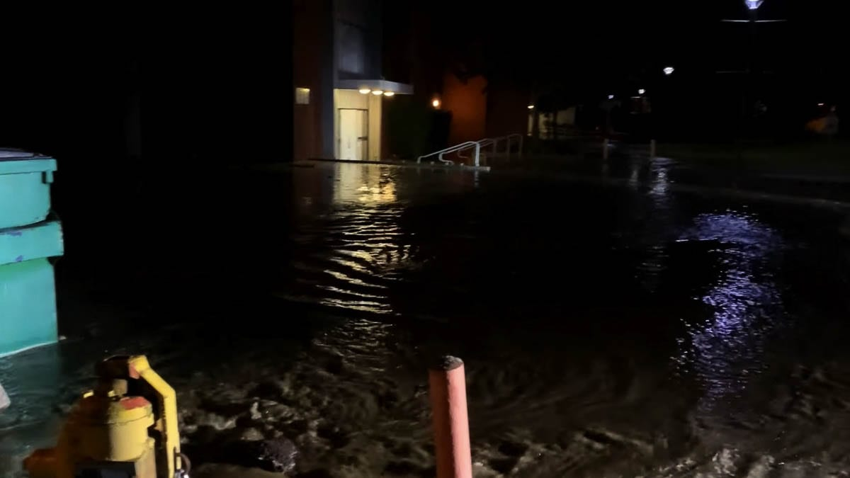 Water from a broken water main flooded part of a gym at Columbia River High School overnight. Photo courtesy Clark County Fire District 6