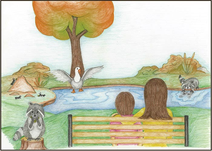 """Illustrations in """"When the City Went Quiet"""" were done by Julie Dee who is, herself, a single mother balancing working from home and raising a child. Image courtesy Battle Ground Public Schools"""