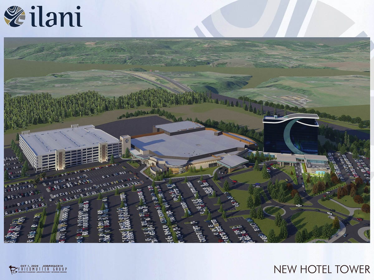 The Cowlitz Tribe and ilani released this rendering of what a 14-story hotel tower will look like in the future. The tribe hopes construction of the hotel will begin in early 2021. Photo courtesy ilani