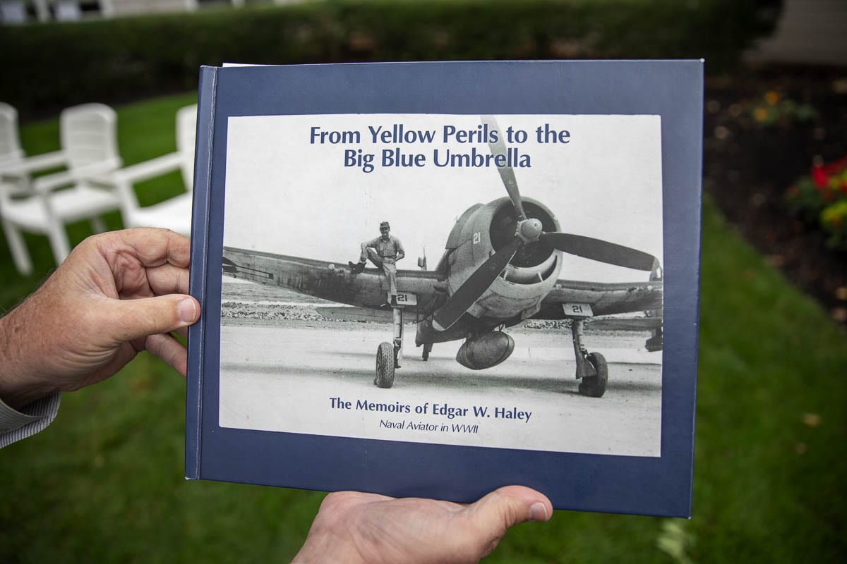 Edgar W. Haley's memoir, a tabletop book published at the insistence of his children. Photo by Jacob Granneman