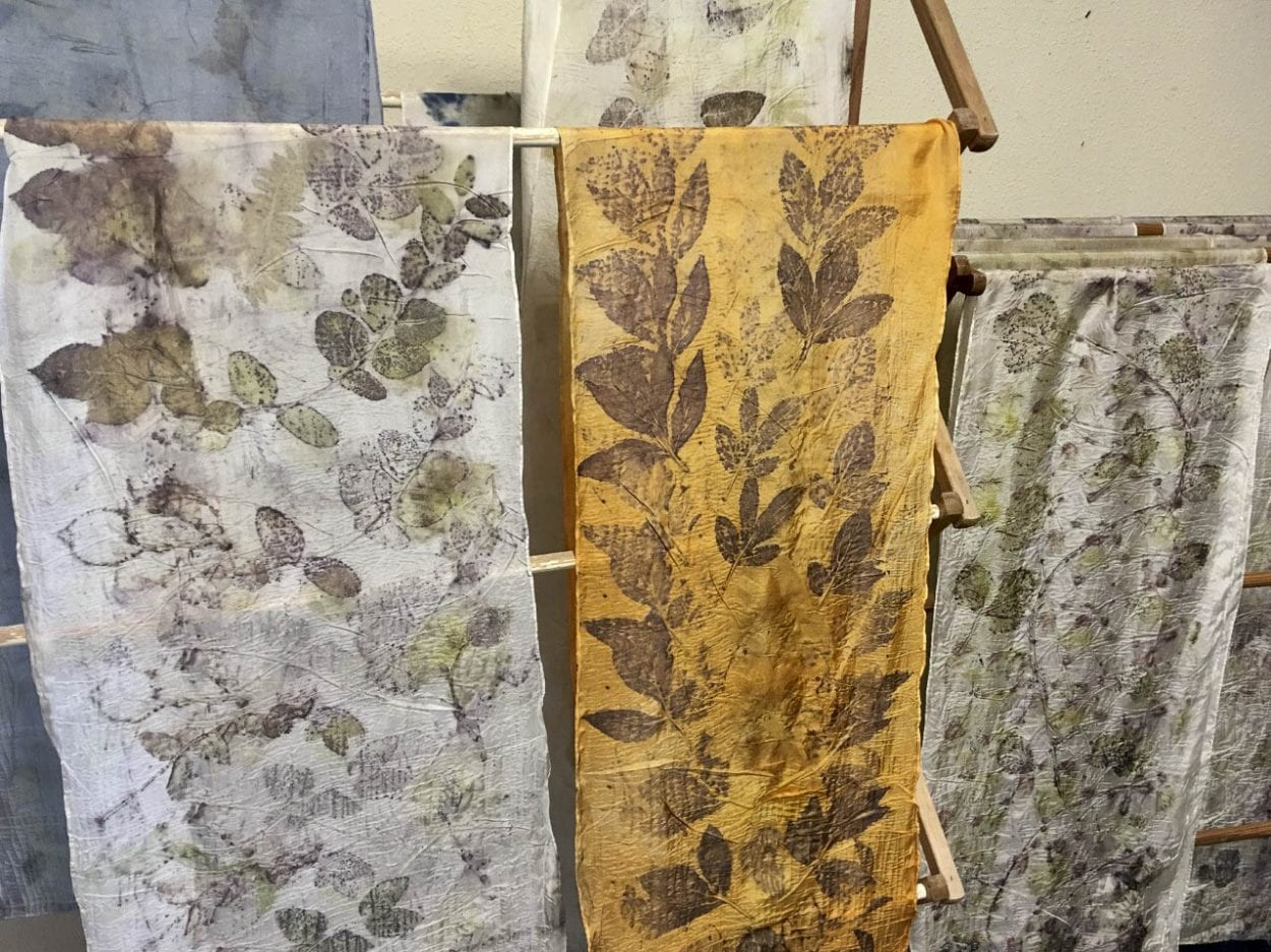 Some work by artist Kim Wessa of Eco Prints from Nature. Photo courtesy of Kim Wessa