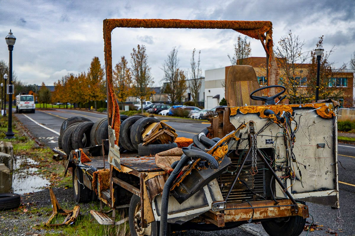 A derelict truck sits along SE 17th Street, east of Commerce Ave. in Battle Ground. Photo by Chris Brown