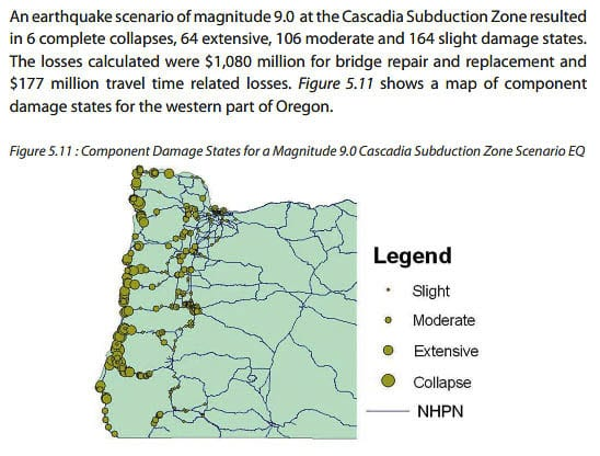 This 2009 ODOT graphic shows potential damage around Oregon due to a 9.0 Cascadia Subduction Zone earthquake. Graphic from ODOT