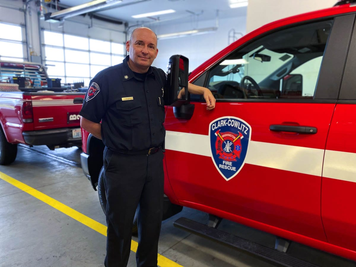 Chief John Nohr is shown here with the new battalion chief vehicle. Photo courtesy of Clark-Cowlitz Fire Rescue
