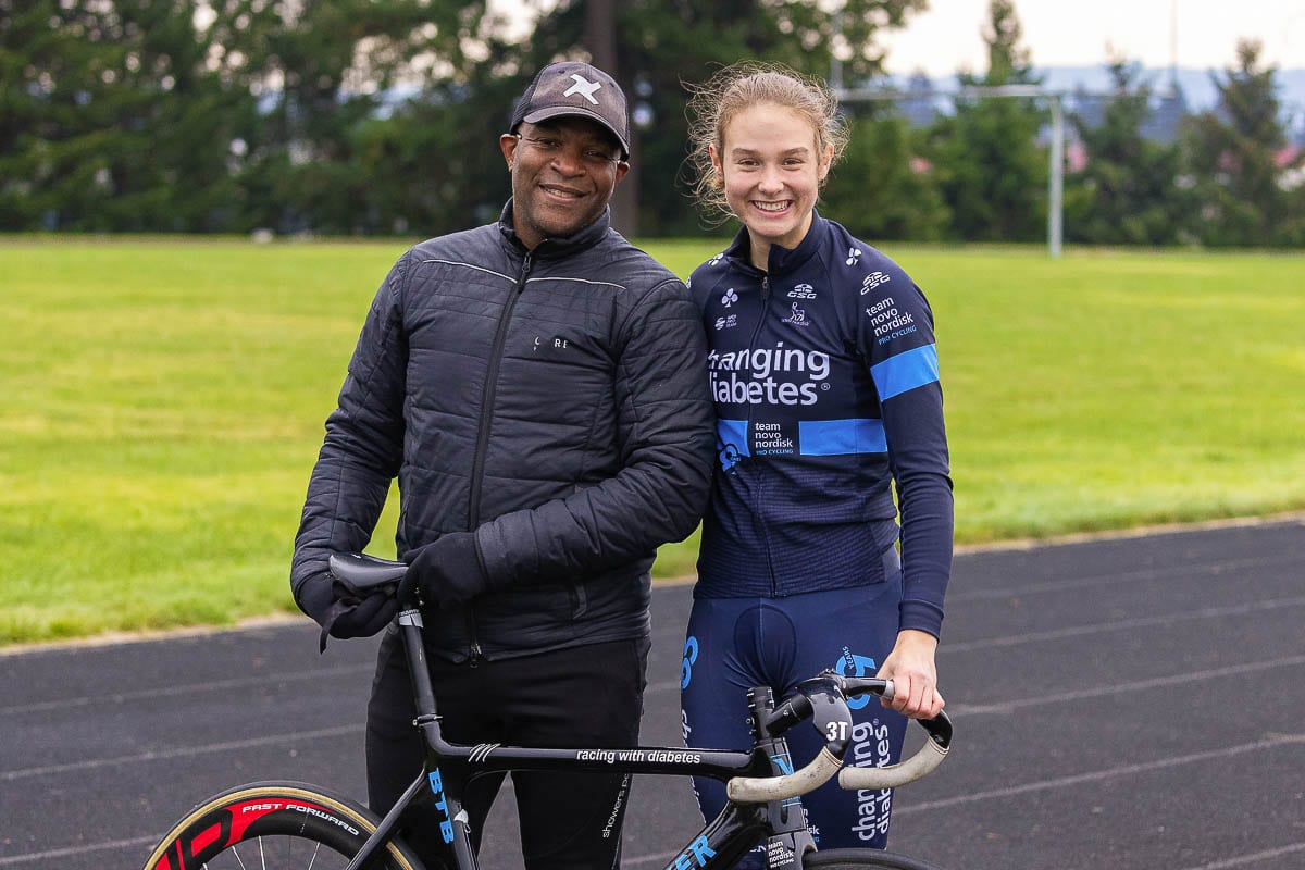 """Kirk Whiteman has been McKenna McKee's cycling coach since she was 12 years old. Now 17, McKee hopes to race in the Olympics one day to show that """"diabetics can do whatever we put our minds to."""" Photo by Mike Schultz"""