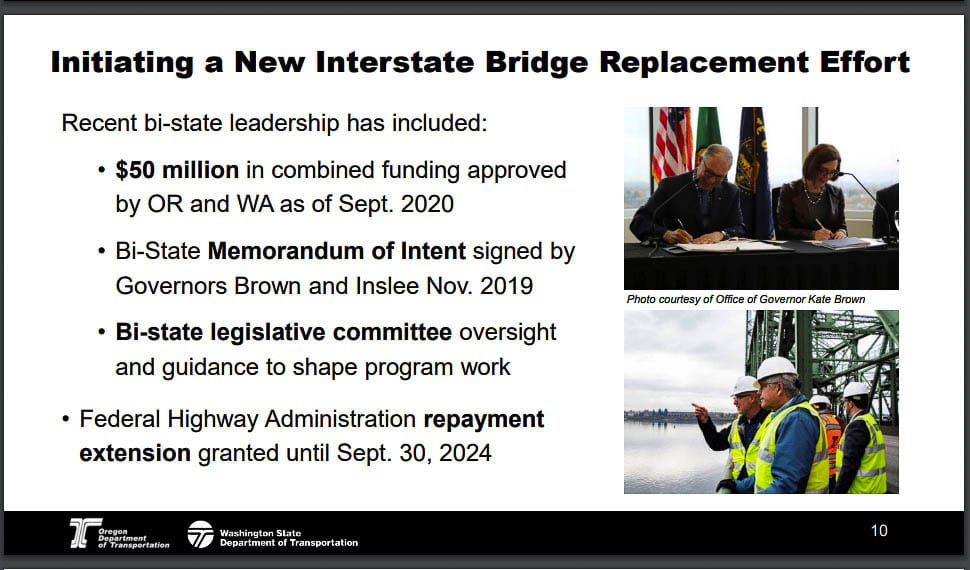 Actions taken by Oregon and Washington to date, to replace the Interstate Bridge. Graphic from ODOT/WSDOT