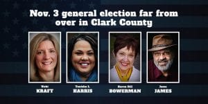 Two Clark County races in the Nov. 3 general election are too close to call as high turnout of voters leaves many ballots remaining to be counted.
