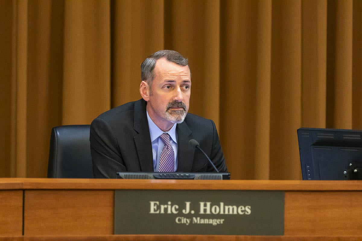 Vancouver City Manager Eric Holmes at a City Council meeting in May 2019. File Photo