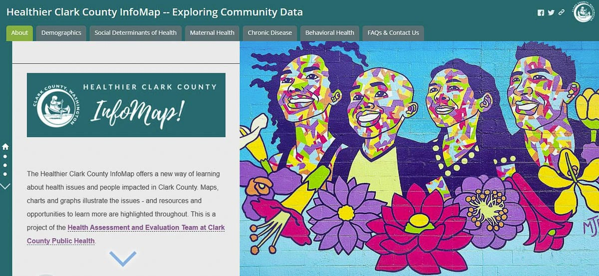 Topic areas in the InfoMap include demographics and social factors that influence health, such as income, education and housing. The tool also features maps and data for several public health focus areas, including maternal health, chronic disease, and behavioral health. Image courtesy of Clark County Public Health