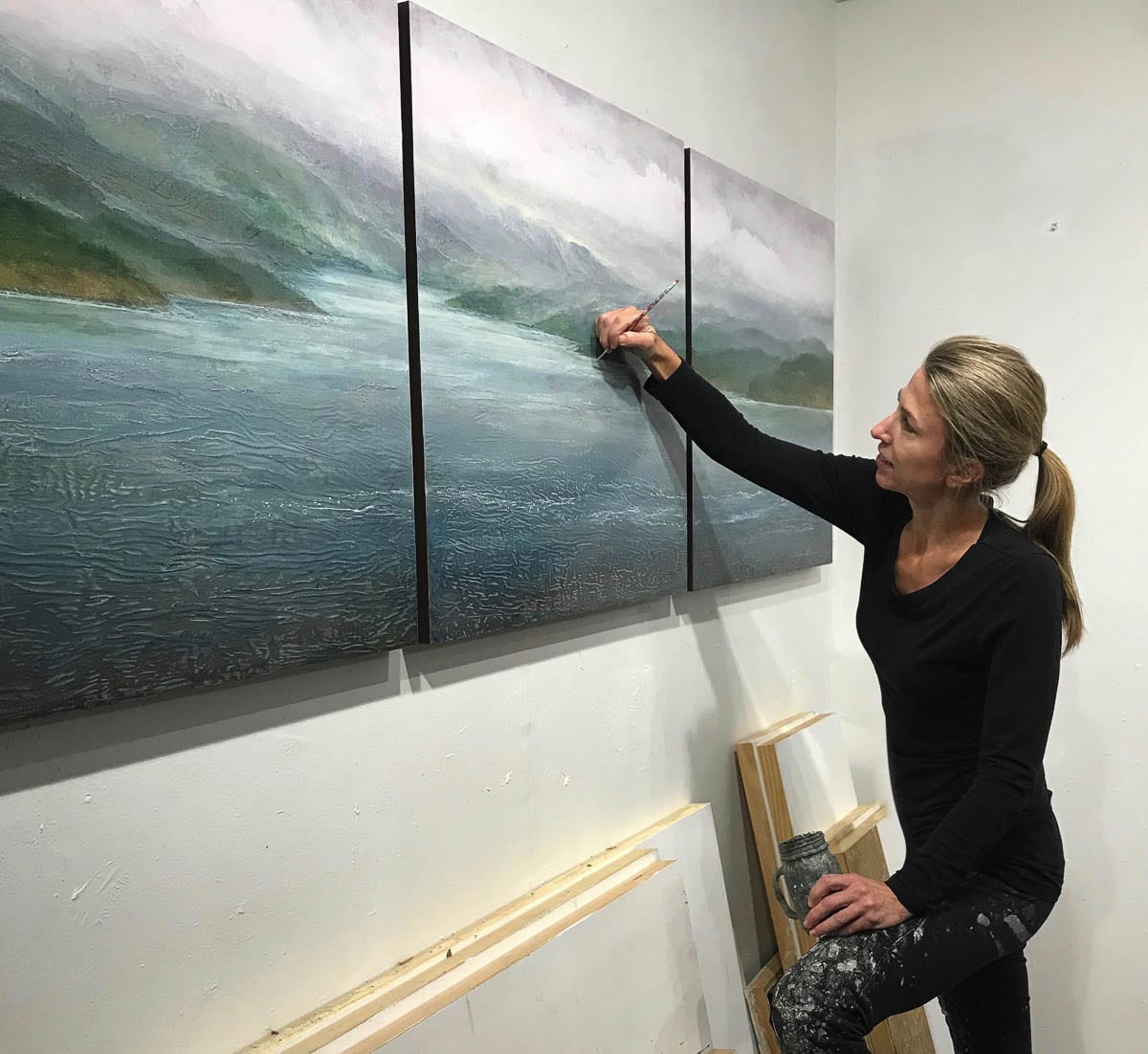 Jennifer Williams, in her studio in Ridgefield, is participating in Artists Sunday on Nov. 29. Photo courtesy Jennifer Williams
