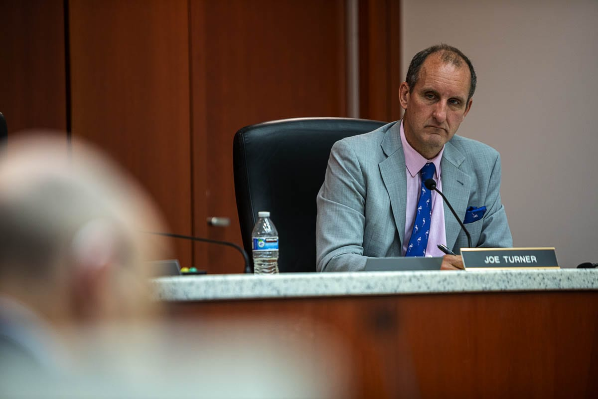 Clark County Hearings Examiner Joe Turner is seen here at a hearing concerning Yacolt Mountain Quarry in 2019. Photo by Jacob Granneman
