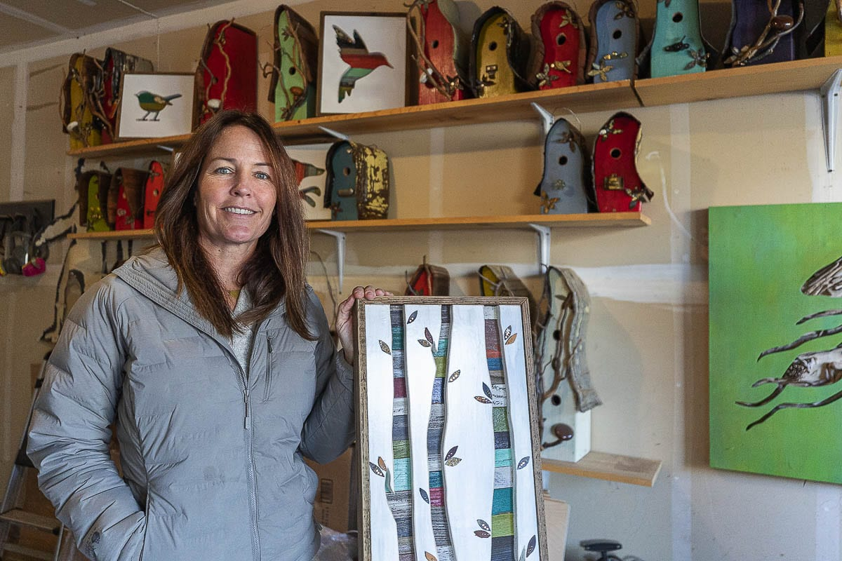 """Michelle Griffin of One Little Blackbird art has organized a """"studio-hopping"""" to celebrate Battle Ground artists on Saturday. Photo by Mike Schultz"""