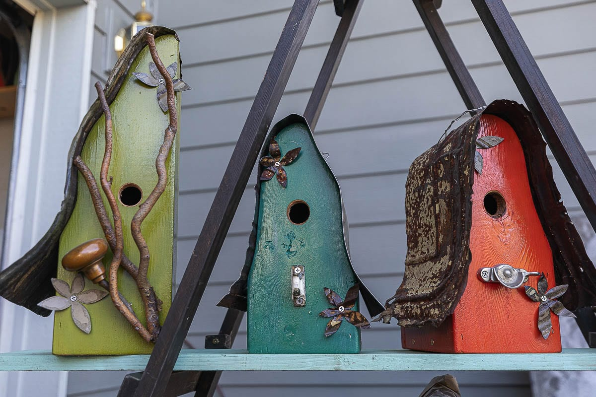 Michelle Griffin said she did not know much about woodwork when she started as a hobby. Now a full-time artist, she sells 400 to 500 birdhouses a year. Photo by Mike Schultz