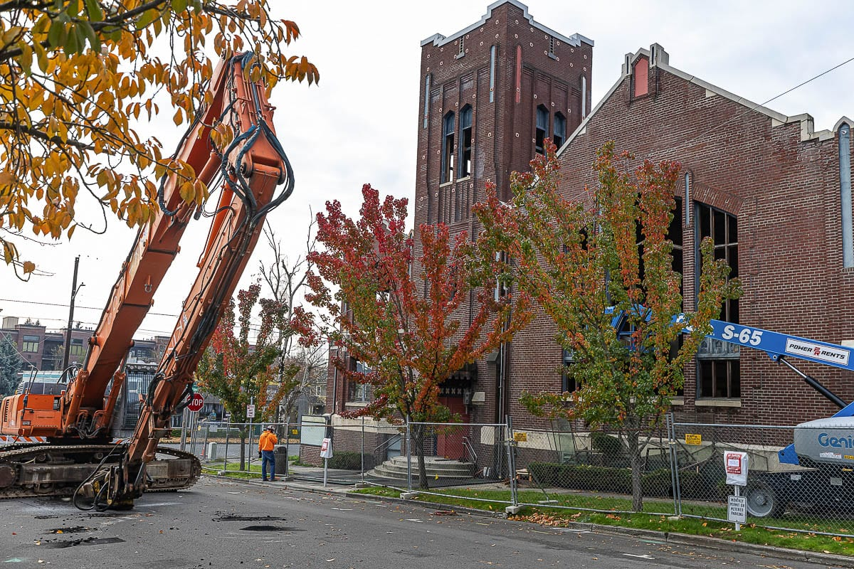 A 108-year-old church building was demolished last week in Vancouver after it was determined to be too unsafe. Photo by Mike Schultz
